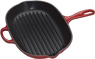 Le Creuset -Sartén Skillet Grill Ovalada de Hierro Colado Esmaltado, 32 cm, color Cereza