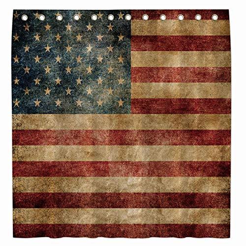 Allenjoy Duschvorhang mit amerikanischer Flagge, 183 x 183 cm, für Badezimmer, 4. Juli, Indenpence Day, patriotische Badewannen-Dekoration, wasserdichter Stoff, maschinenwaschbar mit 12 Haken