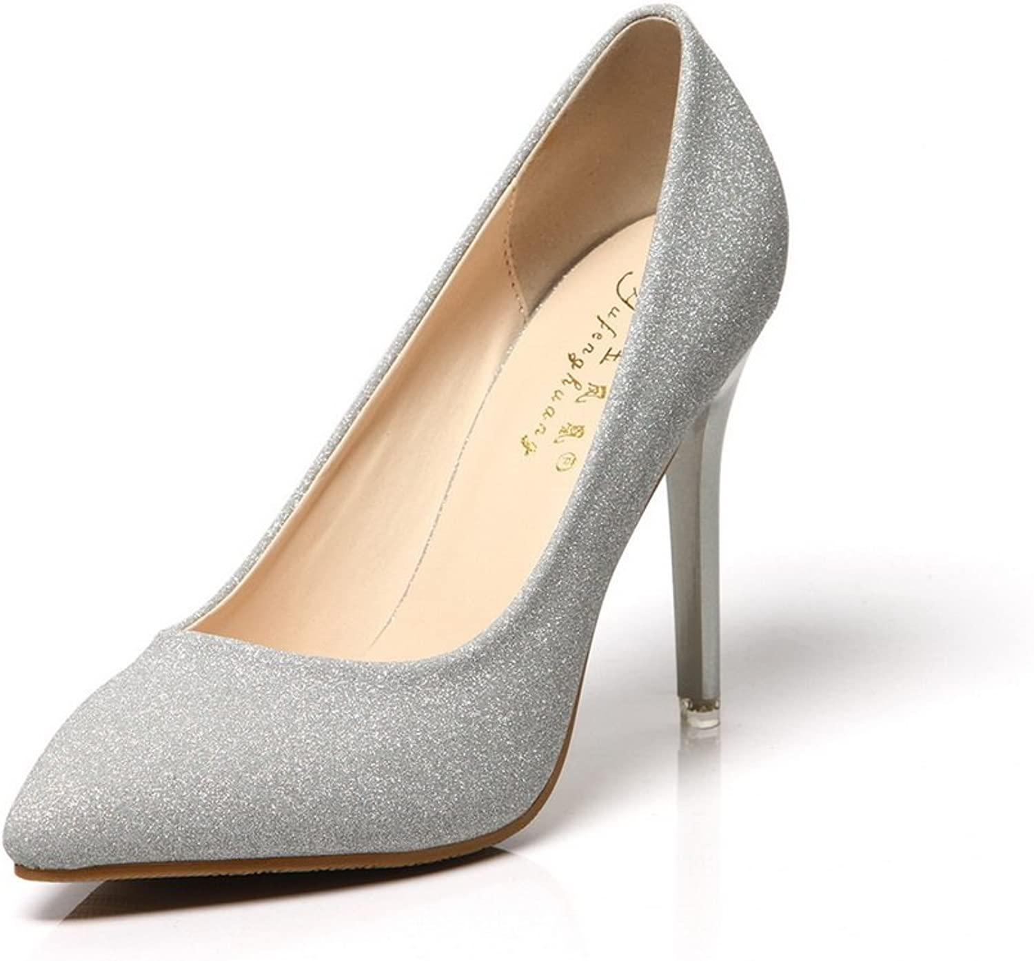 1TO9 Womens No-Closure Spikes Stilettos Pointed-Toe Silver Sequin Pumps shoes - 5.5 B(M) US