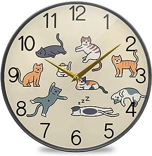 Chovy 掛け時計 サイレント 連続秒針 壁掛け時計 インテリア 置き時計 北欧 おしゃれ かわいい ネコ 猫 猫柄 黄色 イエロー 可愛い かわいい 部屋装飾 子供部屋 プレゼント