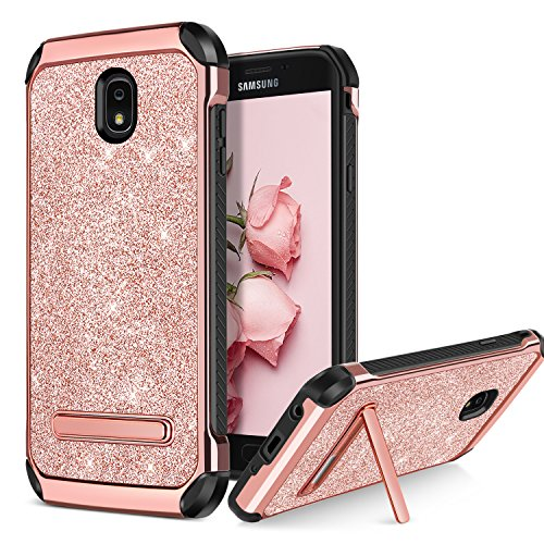 BENTOBEN Case for Galaxy J7 2018/J7 Aero/J7 Refine/J7 Star/J7 V J7V 2nd Gen, 2 in 1 Kickstand Shockproof Protective Glitter Shiny Girl Women Full Body Soft Bumper Phone Cover for Samsung J7, Rose Gold