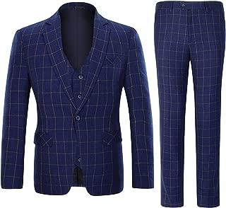 Men's Plaid Tweed 3 Piece Suit Slim Fit One Button Dinner Suit Tuxedo