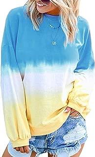 Heymiss Pullover Sweatshirts for Women Tie Dye Long Sleeve Crewneck Shirts Tops