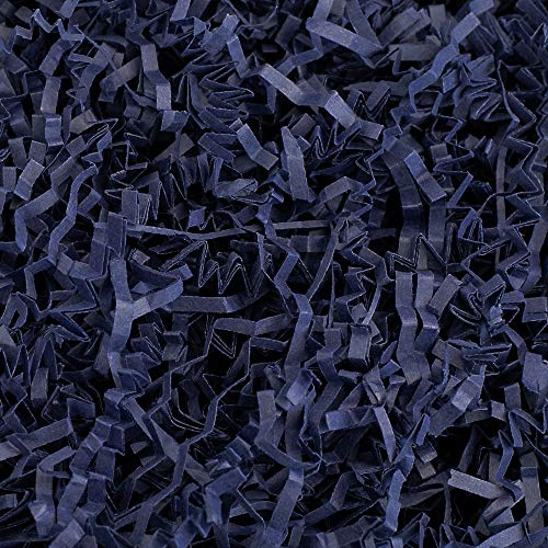 Crinkle Cut Paper Shred Filler (2 LB) for Gift Wrapping & Basket Filling - Navy Blue | MagicWater Supply