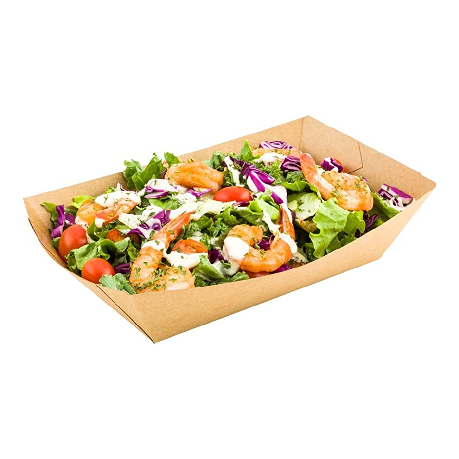6.6-inch Disposable Paper Food Tray – Kraft Brown Take Out Boat: Perfect for Restaurants, Cafes, and Parties – ENVIRONMENTAL-FRIENDLY Recyclable Paper – 50-CT – Restaurantware