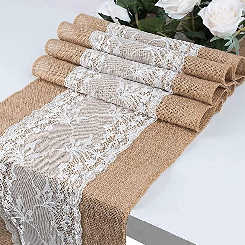 GLCS GLAUCUS 5 Stück Jute Tischläufer mit Weiß Spitze, Weihnachten Winter Juteband Spitzenband 30 * 275 cm Vintage Tischdekoration Tischband für Hochzeit, Fest, Party