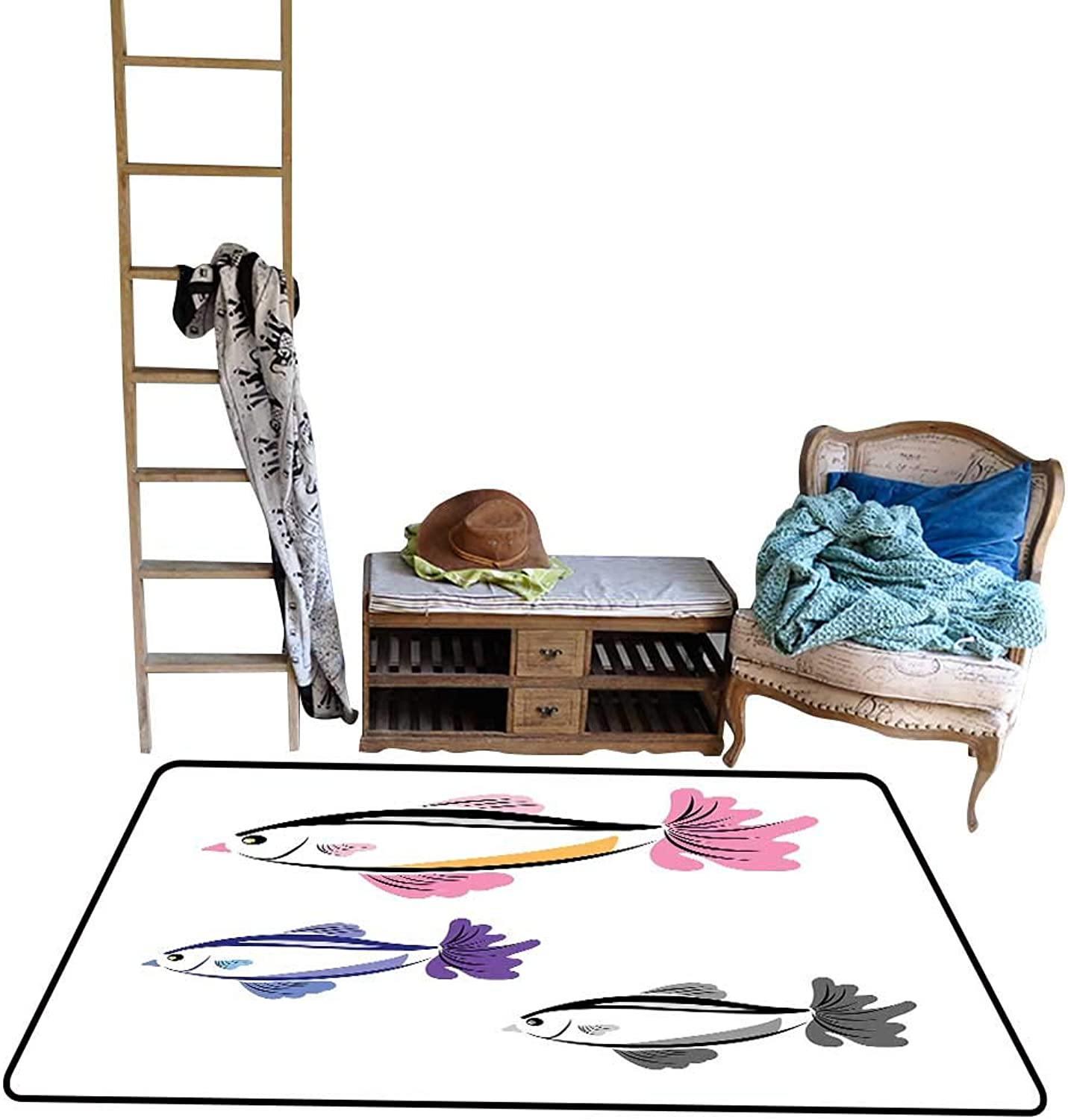 Decorative Floor mat,Illustrated Marine Aquarium Fishes with The Face of a Bird Hand Drawn 4'x6',Can be Used for Floor Decoration