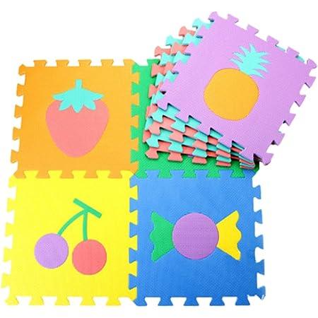 [Jiyaru]10枚組 キッズパズルマット フルーツ数字ジョイント式マット プレイマット 子供部屋 (果物 )