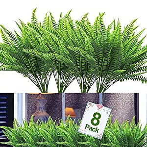 8PCS Artificial Flowers Outdoor UV Resistant Plants, 8 Branches Faux Plastic Corn-flower Greenery Shrubs Plants Indoor Outside Hanging Planter Kitchen Home Wedding Office Garden Decor (Green)