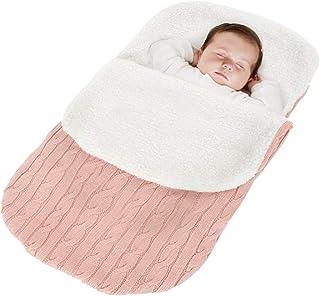Minetom Kinderwagen Baby Schlafsack Stricken Winter Buggy Babyschale Winterfußsack Weich Warmes Plüsch Draussen Fußsack Babydecke Footmuff