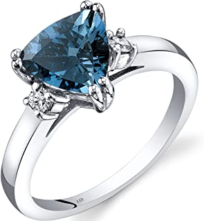14K White Gold London Blue Topaz Diamond Ring Trillion Cut 2.00 Carat