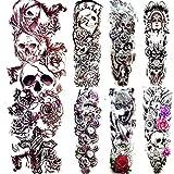 7 Piezas 3D Negro Impermeable Diablo Cráneo Esqueleto Rey Tatuaje Pegatinas Cruz Mago Hombres Brazo Completo Arte Tatuaje Temporal Pierna Tatuajes Mujeres