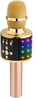 BONAOK Wireless Bluetooth Karaoke Microphone with Controllable LED Lights, Portable Handheld Karaoke Speaker Machine Christmas Birthday Home Party for Android/iPhone/PC or All Smartphone(Q78 Gold)