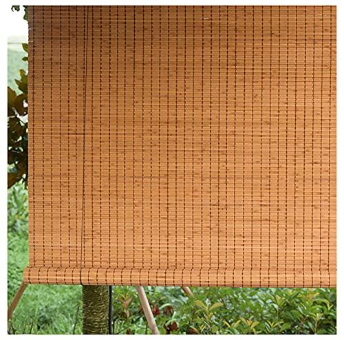 YXW Bambus-Lamellenrollos, Verdunkelungs-Bambus-Rollos für drinnen und draußen, Holzrollo für Badezimmer, Schlafzimmer, Küche, Balkon (Natur, Karbonisiert, Kaffee)