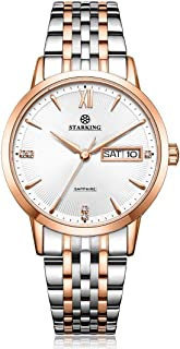 STARKING Women Watches Rose Gold Silver Bicolor BL0993 Stainless Steel Quartz with Day Date Rhinestones