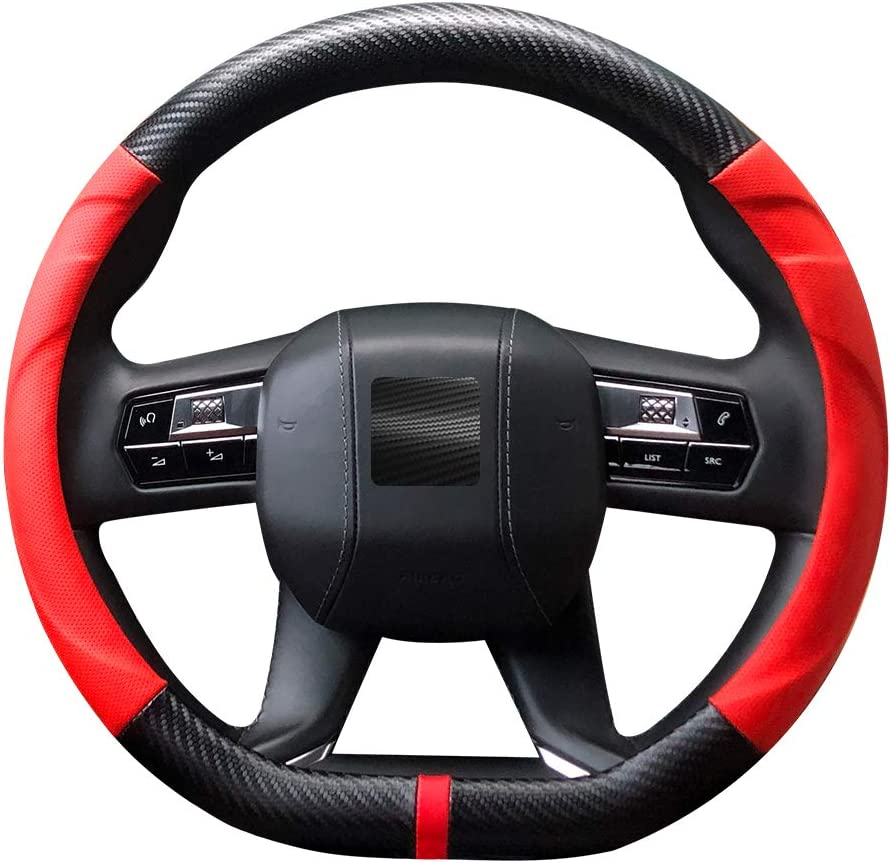 LECART Car Steering Wheel Max 53% OFF Covers D Shaped Anti-Slip Grip Leather 40% OFF Cheap Sale