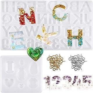 Starthi Resin Moulds 93PCS Reversed Alphabet Epoxy Resin Molds Kit Letter Number Silicone Mould for Resin,DIY Casting Resi...
