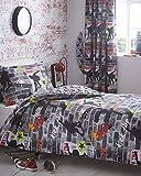 Kidz Club Lit Double Housse de Couette et taie d'oreiller Parure de lit pour Adolescents Skateboards et Graffitis–Gris