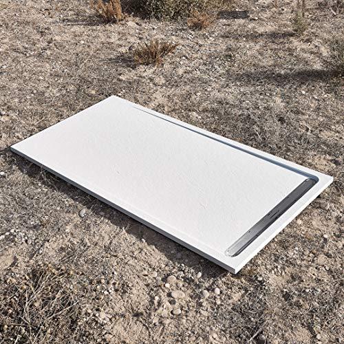 120 x 80 cm, plato de ducha mod. DUO SLATE, acabado efecto piedra, ultraslim con grosor de 3 cm, desagüe de Viega incluido (blanco)