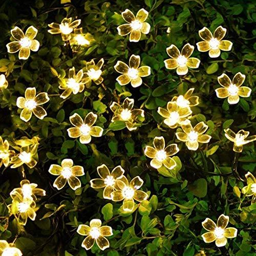 ソーラー LED ストリングライト ガーデン ソーラーライト 11M 60電球桜の花 LED イルミネーションライト太陽充電 8モード IP65防水 夜間自動点灯 クリスマス/パーティー/バレンタインデー/新年/祝日/結婚式/学園祭屋外/室外/室内/庭対応 ソーラーパネル 飾りライト (ウォームホワイト 桜型)