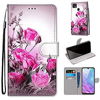 Tznzxm ZTE ZMax 10 / ZTE Z6250 Wallt Case Rose Flowers Painting Premium PU Leather Flip Style Cover with Kickstand and Card Holder Slots Protective Magnetic Phone Case for Consumer Cellular ZMax 10