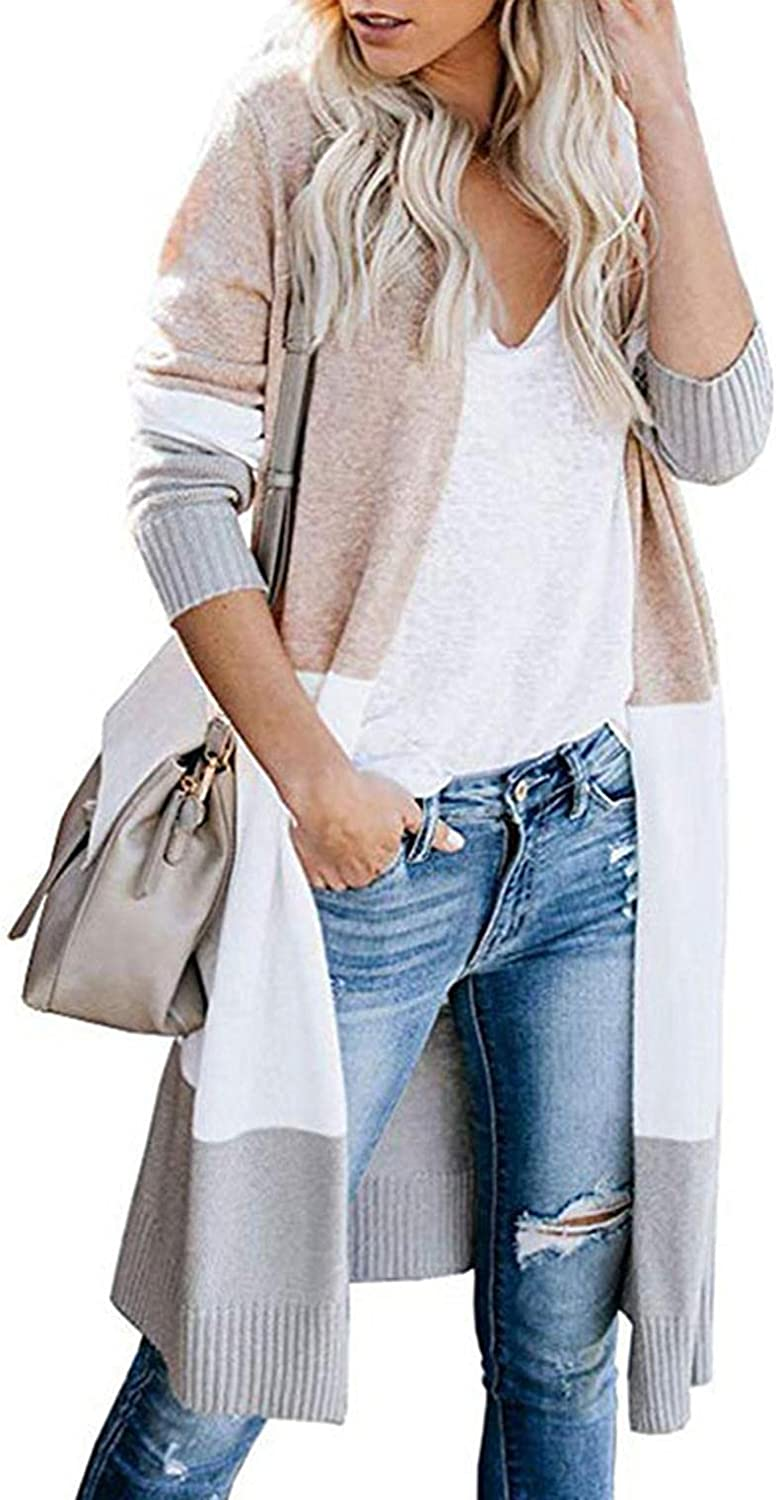 Cardigan for Women Lightweight Open Front Cardigan Colorblock Long Sleeve Loose Knit Lightweight Sweaters
