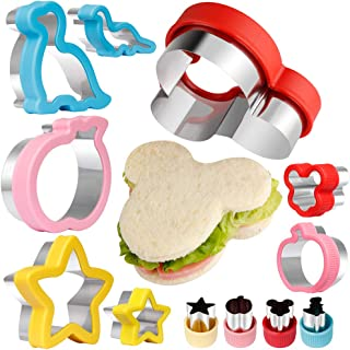 Vanmor Sandwich Cutters for Kids, FDA Stainless Steel Holiday Cookie Cutters with Micky Mouse & Star & Dinosaur & Apple Fun Shapes, Vegetable Fruit Cutter Molds for Toddlers Girls Boys (12 Pack)