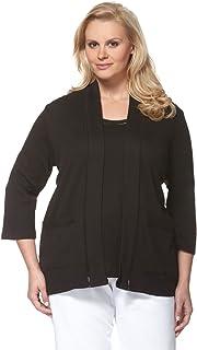 Rafaella Women's Plus-Size Solid 1X1 Cardigan with Faggoting Sweater