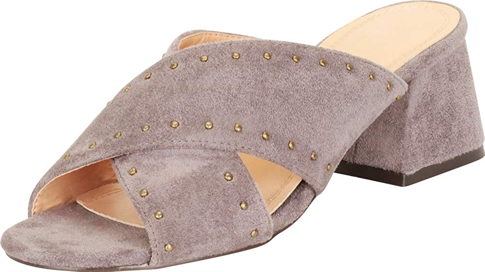 Cambridge Select Women's Open Toe Crisscross Strappy Studded Slip-On Flared Block Heel Mule Slide Sandal