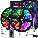 Gusodor Led Strip Lights 32.8 Feet Smart Led Lights for Bedroom Color Changing Led Light Strips Music Sync RGB Led Rope Lights with Remote App Control Led Tape Lights for Room Party Home Decoration