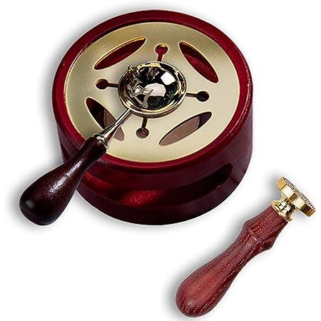 Jxunter Vintage Doint de Cire Chauffe-kit de Fusion Perles de Cire four de Fusion Cuisinière Pot et Cuillère de Fusion pour Arts Artisanat Cire Joint Timbre Outil Bricolage