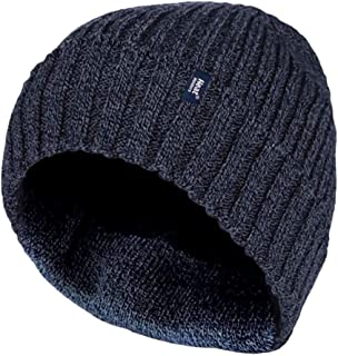 Heat Holders - Mens Warm Fleece Lined Thermal Winter Turn Over Cuff Beanie Hat