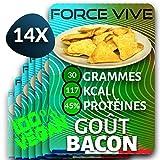 Chips Protéinées Goût Bacon Pack de 12 (14x30g) | Nutrition Sport Musculation Veggie Vegan Pour Homme ou Femme Prise de Masse ou Maintien Musculaire Booster Minceur Protéine Végétales Barre Substitut