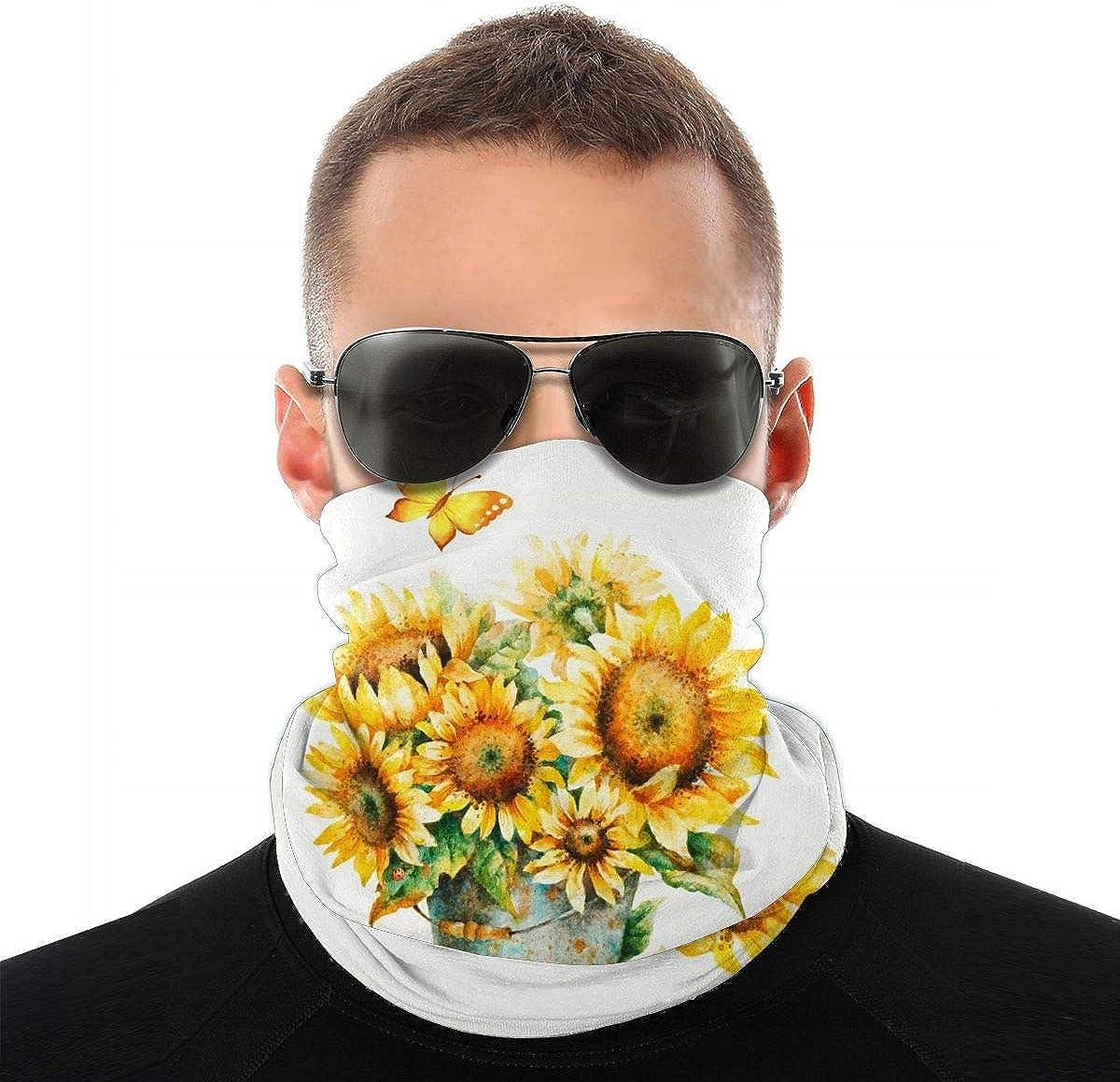 KiuLoam Women Bandanas Face Mask, Watercolor Sunflowers Bouquet Neck Gaiter Mask Headband for Men Face Scarf Dust, Outdoors, Sports