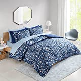 Comfort Spaces Bed in A Bag Comforter Set - College Dorm Room Essentials, Complete Dormitory Bedroom Pack And Sheet with 2 Side Pockets, Queen, Cara Blue 9 Piece