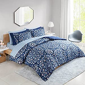 Comfort Spaces Comforter Set All Season Microfiber Printed Medallion Bedding and Sheet with Two Side Pockets