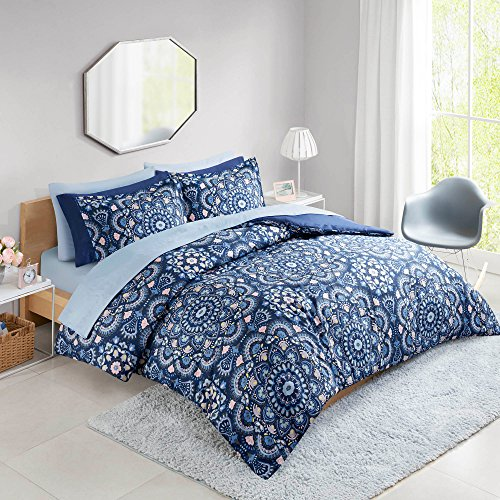 Comfort Spaces Cara 9 Piece Comforter Set All Season Microfiber Printed Medallion Bedding and Sheet with Two Side Pockets, Queen, Blue