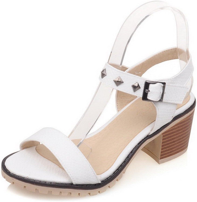 AllhqFashion Women's Open Toe Kitten-Heels Soft Material Solid Buckle Sandals