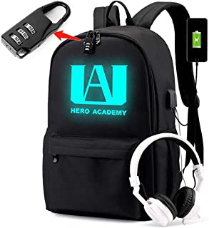 PIESWEETY Luminous Backpack with USB Charging Port and Password Lock Anti Theft Laptop Backpack Unisex Fashion Bookbag Day...