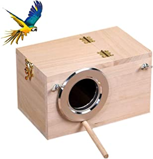 Tfwadmx Parakeet Nesting Box, Bird Nest Breeding Box Cage Wood House for Finch Lovebirds..