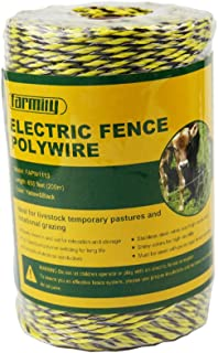 Farmily Portable Electric Fence Polywire, 656 Feet 200 Meter, 6 Conductors, Yellow and Black Color, Easy to Install Repair Splice and Rewind