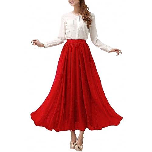 c1a535db53 Afibi Mujeres Gasa Retro Largo Maxi Falda Vendimia Vestir