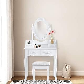 Hengda Tocador Mesa Maquillaje tocador Blanco con Espejo y Taburete,Espejo Plegable 1 Piezas, 4 Cajones y Taburete Acolchado Estilo Romántico