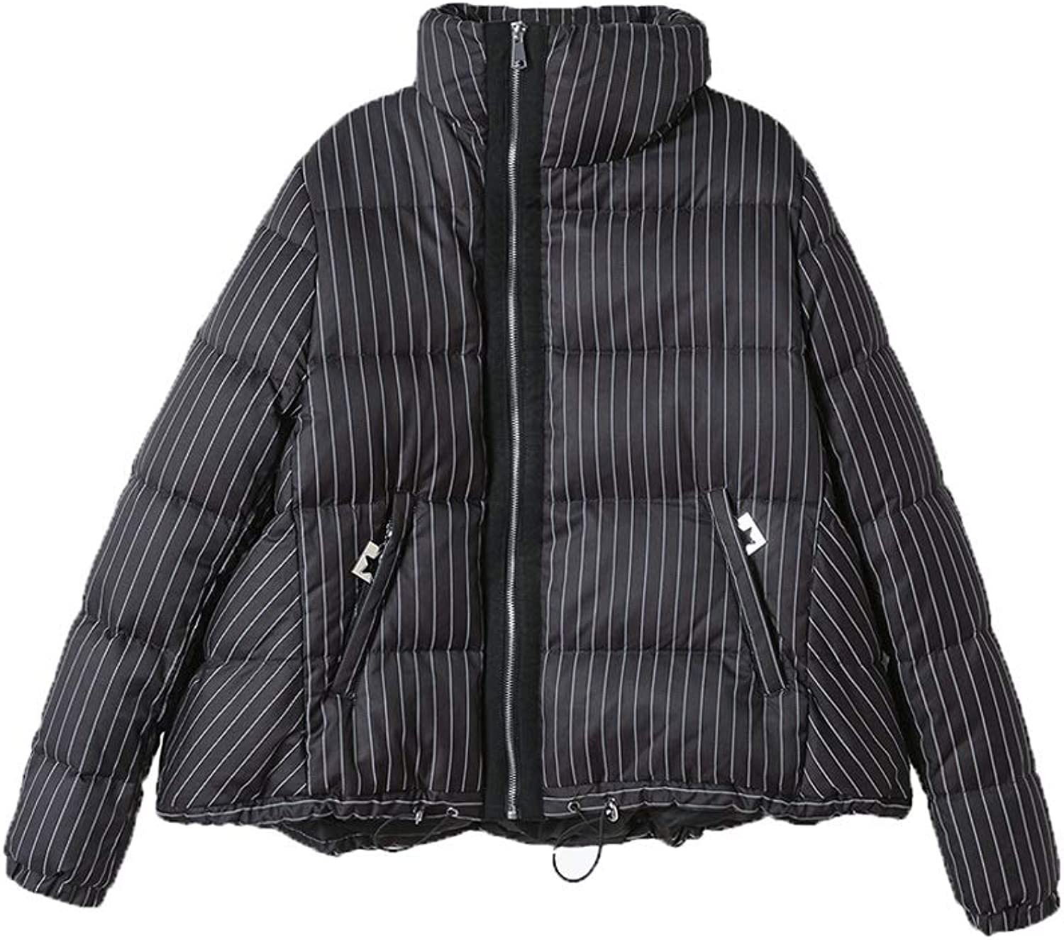 Women's Down Jacket Thick Short Jacket Literary Casual Striped Jacket Lapel Zipper Pocket Warm Ladies Jacket (Black) (Size   M)