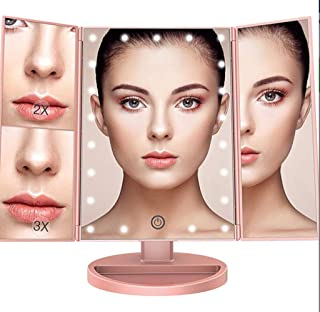 Makeup Mirror 22 LED Light Makeup Mirror,Touch Screen Dimming Desktop Vanity Mirror, USB Cable or Battery Use