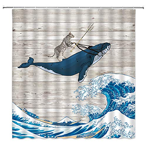 Lustiger Katzen-Duschvorhang, Katze reitet Wal im Ozean, tolle Welle auf Vintage-Holz, kreativer Tierdruck, Heimdekoration, schnell trocknend, Stoffvorhang mit 12 Haken, 178 x 178 cm, grau-blau