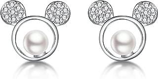 925 Sterling Silver Sparkling CZ Mouse Studs Earrings for Women Teen girls Cute Earrings