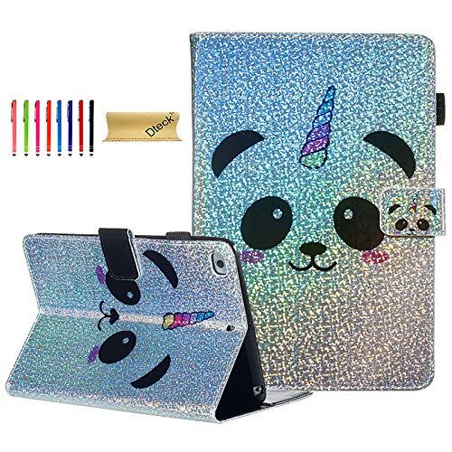 Dteck iPad Mini 5 Case 2019 /iPad Mini 4/3/2/1 Case for Kids/Girls, Glitter Sparkly Slim Fit Folio Stand PU Leather Case with Auto Wake/Sleep Feature Magnetic Protective Case -Panda Unicorn