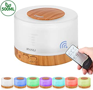 Mist Humidifiers for Bedroom, MANLI 500ML Essential Oil Diffuser with Remove Control, Aromatherapy Diffuser with 7 LED Light Colors and 4 Timer, Waterless Auto Off Ultrasonic Humidifier for Bedroom