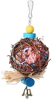 Fdit papegaai vogel speelgoed handgemaakte vogel ophangen speelgoed rotan bal papegaai koeken speelgoed kooi speelgoed voo...